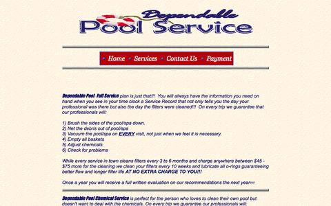 Screenshot of Services Page dependablepoolservice.net - Services - captured Sept. 30, 2014