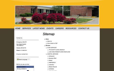 Screenshot of Site Map Page sac-osagehospital.com - Home - Sac-Osage Hospital - captured Sept. 30, 2014