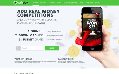 Screenshot of Signup Page cashplay.co - Cashplay: Developer Sign Up For Free Cash Tournament SDK - captured Dec. 7, 2015