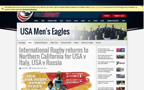 Screenshot of usarugby.org - International Rugby returns to Northern California for USA v Italy, USA v Russia - captured March 19, 2016