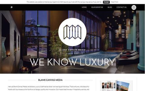 Screenshot of Home Page blankcanvasmedia.net - Blank Canvas Media Luxury Hotel Publications - Blank Canvas Media - captured Jan. 5, 2016
