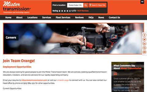 Screenshot of Jobs Page mistertransmission.com - Employment Opportunities   Mister Transmission - captured Nov. 6, 2017