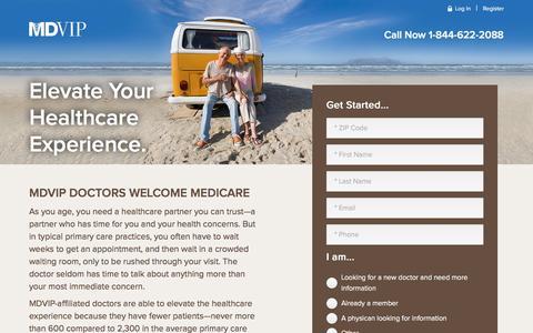 Screenshot of Landing Page mdvip.com - MDVIP Doctors Welcome Medicare - captured Oct. 22, 2016
