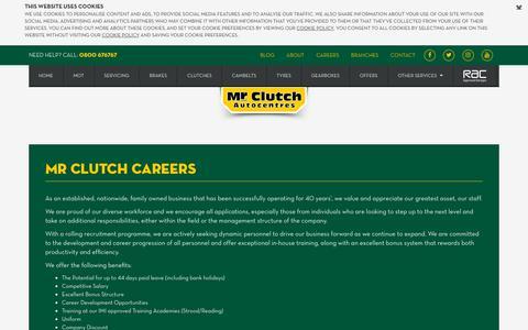 Screenshot of Jobs Page mrclutch.com - Careers | Mr Clutch Autocentres - captured Nov. 8, 2018