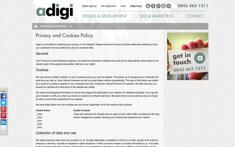 Screenshot of Privacy Page adigi.co.uk - Privacy and Cookies Policy | Digital Agency | SEO Agency | Yorkshire | adigi - We are a digital agency - captured Oct. 4, 2014