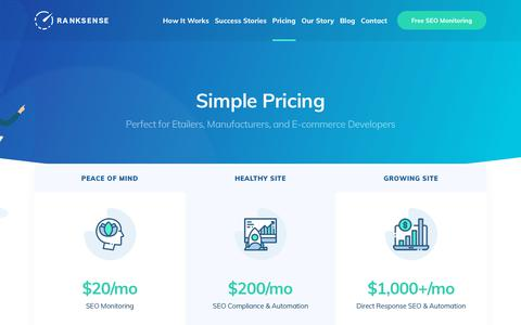 Screenshot of Pricing Page ranksense.com - Pricing – RankSense – Reclaiming SEO Revenue for Retailers - captured Nov. 18, 2018