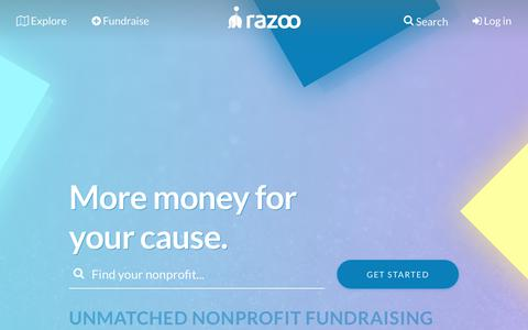 Screenshot of Home Page razoo.com - Razoo: Free Online Fundraising For Personal Causes & Nonprofits - captured Sept. 21, 2017