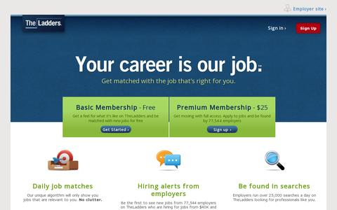 Screenshot of Home Page theladders.com - TheLadders Gets You a New Job Quicker | TheLadders - captured July 17, 2014
