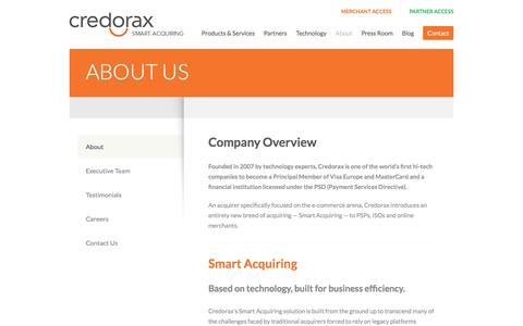 Screenshot of About Page credorax.com - About Credorax - captured May 9, 2017