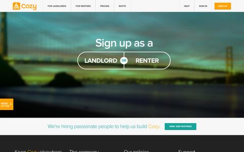 Screenshot of Signup Page cozy.co - Cozy - Sign up - Collect rent online, screen tenants online - captured Sept. 13, 2014