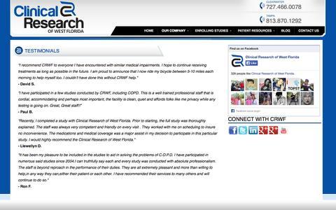 Screenshot of Testimonials Page crwf.com - TESTIMONIALS «  Tampa Clinical Research | Clinical Research of West Florida - captured Oct. 2, 2014
