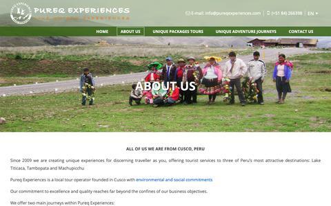 Screenshot of About Page pureqexperiences.com - Pureq Experiences - Meet us, Rainbow Mountain Peru, camino inca a machu picchu, cusco peru, peru tours, machu picchu trek, lares trek - captured Sept. 30, 2018