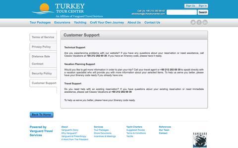 Screenshot of Support Page turkeytourcenter.com - Turkey Tour Center - Customer Support - captured Oct. 9, 2014