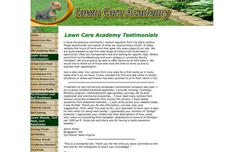 Screenshot of Testimonials Page lawn-care-academy.com - Visitor Testimonials for Lawn Care Academy - captured May 14, 2016