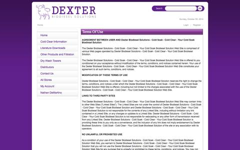 Screenshot of Terms Page dexterbiodiesel.com - Home - captured Oct. 6, 2014