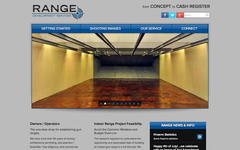 Screenshot of Home Page rangedevelopmentservices.com - Shooting Range Construction, Indoor Shooting Range, Range Development Services - captured Oct. 6, 2014