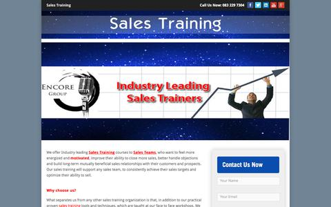 Screenshot of Home Page sales-training.co.za - Sales Training   Home - captured March 15, 2018