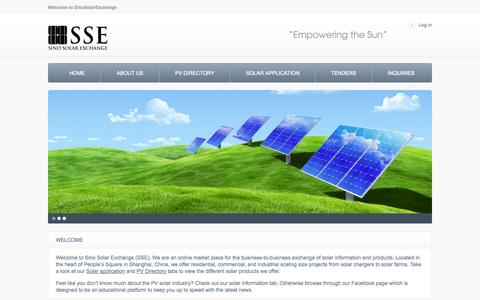Screenshot of Home Page sinosolarexchange.com - Home page -  Sino Solar Exchange - SSE - captured Oct. 1, 2014