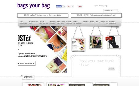 Screenshot of Home Page bagsyourbag.ie - bags your bag - quality handbags and purses online - captured Sept. 30, 2014
