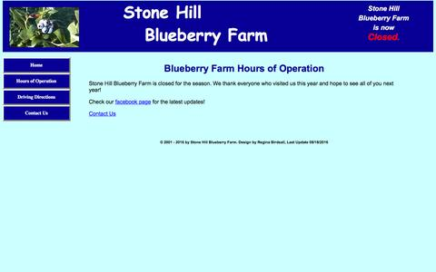 Screenshot of Hours Page stone-hill-blueberry-farm.com - Stone Hill Blueberry Farm || Hours of operation - captured April 24, 2017