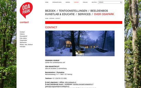 Screenshot of Contact Page odapark.nl - Contact - Odapark - captured Nov. 11, 2017
