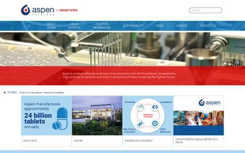 Screenshot of Home Page aspenpharma.com - Aspen Holdings - captured May 8, 2017