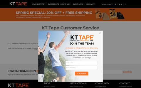 Screenshot of Support Page kttape.com - KT Tape Customer Service | Kinesiology Therapeutic Tape - captured May 25, 2018