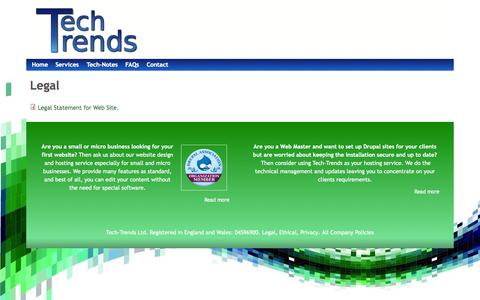 Screenshot of Terms Page tech-trends.co.uk - Legal   www.tech-trends.co.uk - captured Oct. 9, 2014