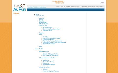 Screenshot of Site Map Page goaupair.com - Site Map | Go Au Pair - captured Sept. 24, 2014