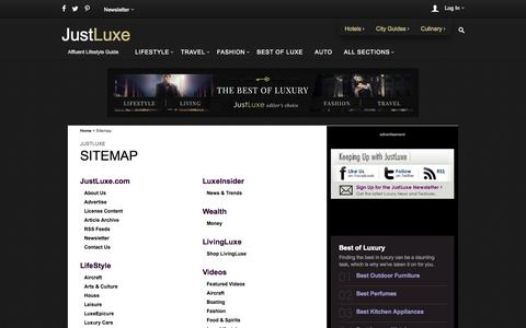 Screenshot of Site Map Page justluxe.com - JustLuxe Site Map - captured Sept. 18, 2014