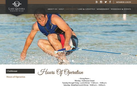 Screenshot of Hours Page lakequivira.org - Hours of Operation - Lake Quivira Country Club - captured Sept. 26, 2018