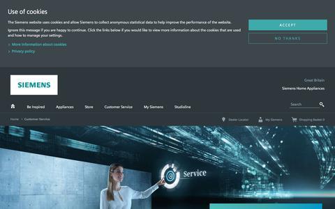 Screenshot of Services Page bsh-group.com - Siemens Customer Service | Siemens Home Appliances - captured Sept. 23, 2018