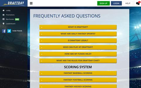 Screenshot of FAQ Page draftday.com - Frequently Asked Questions, FAQ, Questions - captured Dec. 4, 2015