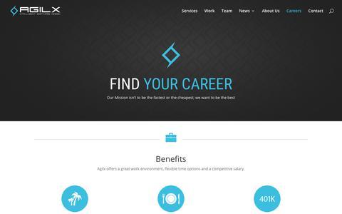 Screenshot of Jobs Page agilx.com - Careers | Agilx Software Development - captured July 6, 2018