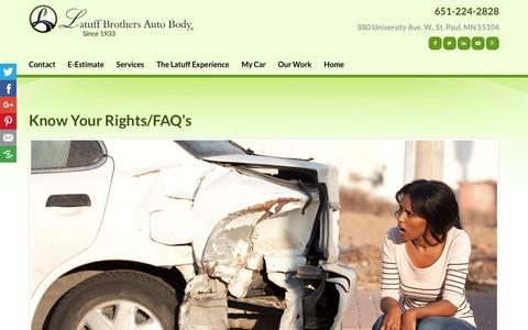 Screenshot of FAQ Page latuffbrothers.com - Know Your Rights/FAQ's | Latuff Brothers Auto Body - captured Dec. 14, 2018