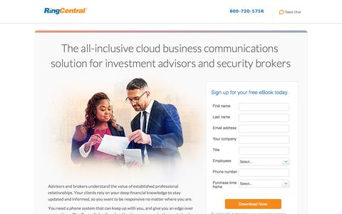 Screenshot of Landing Page ringcentral.com - The all-inclusive cloud business communications  solution for investment advisors and security brokers - captured Jan. 7, 2017