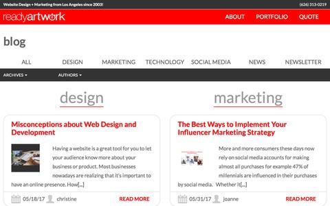 Screenshot of Blog readyartwork.com - Blog | Los Angeles Magento Website Design Developer | Website Design + Marketing from Los Angeles since 2003! - captured June 10, 2017
