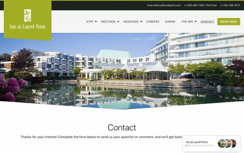 Screenshot of Contact Page laurelpoint.com - Contact - Inn at Laurel Point - captured Oct. 12, 2018