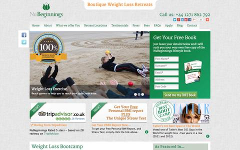 Screenshot of Home Page nubeginnings.co.uk - Weight Loss Boot Camp & Retreat | Fat Farm Boot Camps | NuBeginnings - captured Sept. 30, 2014
