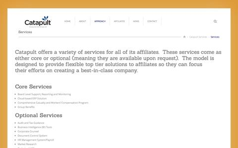 Screenshot of Services Page catapultservices.net - Services - captured Oct. 27, 2014