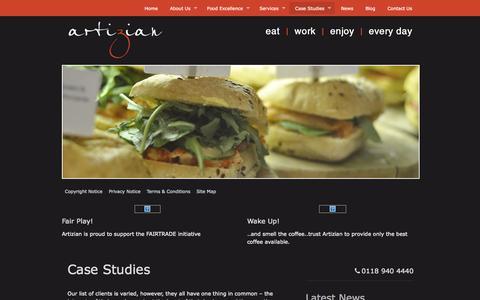 Screenshot of Case Studies Page artiziancatering.co.uk - Case Studies | Artizian Catering - captured Oct. 4, 2014