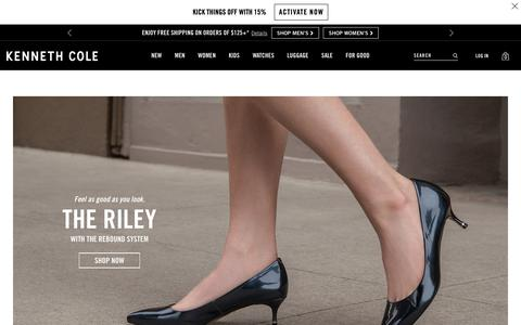 Screenshot of Home Page kennethcole.com - Kenneth Cole: Shoes, Bags, Luggage, + More | Kenneth Cole - captured July 10, 2019