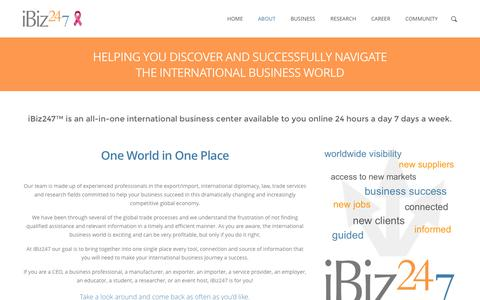 Screenshot of About Page Contact Page ibiz247.com - iBiz247-One-Stop International Business Center Online - captured Oct. 25, 2014