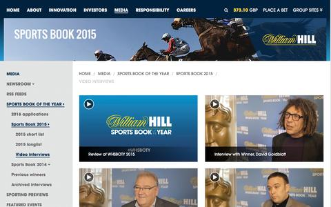 Screenshot of williamhillplc.com - William Hill PLC: Video interviews                 - Sports Book 2015                 - Sports Book of the Year                 - Media - captured March 19, 2016