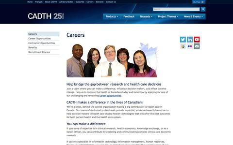 Screenshot of Jobs Page cadth.ca - Careers | CADTH - captured Oct. 1, 2014