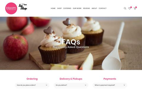 Screenshot of FAQ Page bloomcupcakes.co.nz - FAQ's and their answers. Everything you need to know. | Bloom Cupcakes - captured Aug. 2, 2018