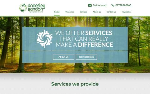 Screenshot of Home Page annesleygandon.co.uk - Annesley Gandon - Consultancy services for the leisure industry - captured Jan. 21, 2015