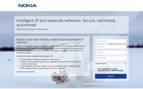 Screenshot of Landing Page nokia.com - Nokia - captured March 27, 2018