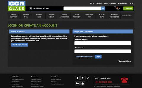 Screenshot of Login Page ggrglass.co.uk - Customer Login - captured Oct. 1, 2014