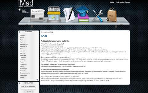 Screenshot of FAQ Page imad.pl - iMad - Apple Authorized Reseller - FAQ - captured Oct. 6, 2014